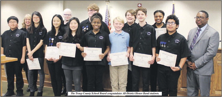 All-District Honor Band Students Recognized By School Board