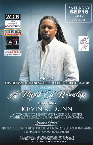 Free Concert and A Night Of  Worship Coming In  September With Kevin Dunn