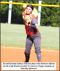 Lady Warriors Pummel Twiggs,  Terry Throws A Two-Hitter