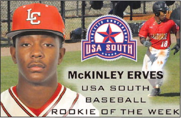 Baseball: McKinley Erves  Selected as USA South  Rookie of the Week