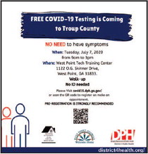 District 4 Public Health to Offer Free COVID-19 Testing in Troup County