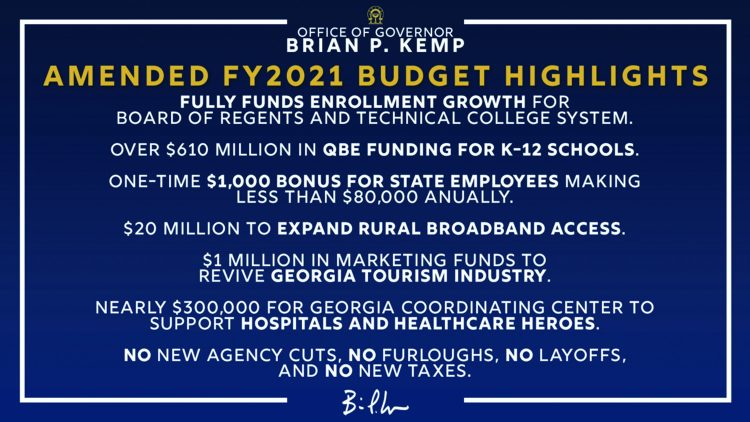 Governor Kemp Signs Amended Fiscal Year 2021 Budget