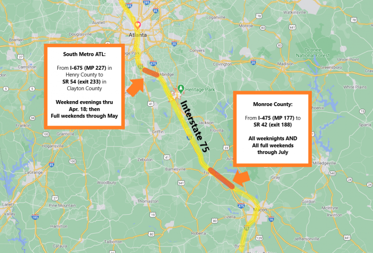 Two Interstate 75 Construction Projects to Install Multi-Lane Closures Through Upcoming Weekends